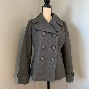 Charcoal gray pea coat from Banana Republic